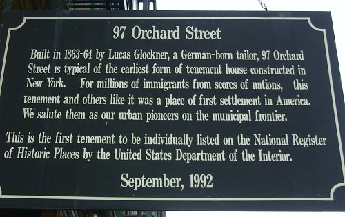 sign at 97 Orchard Street, part of the Lower East Side Tenement Museum